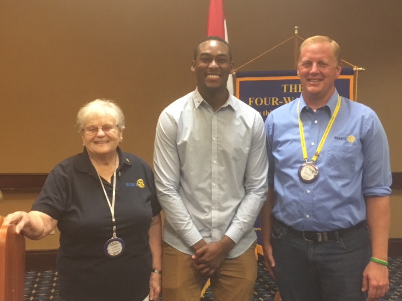 Newest member initiated July 9 2019 Yurick Griggs with President/sponsor Carol Robertson and Membership chair Nick Rackers